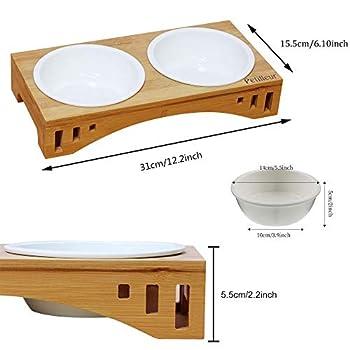 Petilleur Bol Céramique pour Chat et Chien Gamelle Haute pour Chat et Petit Chien avec Support en Bambou (2-Bol, Céramique)