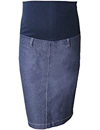 Pink Pixie Maternity Pregnancy Over Bump Denim Pencil Wiggle Skirt