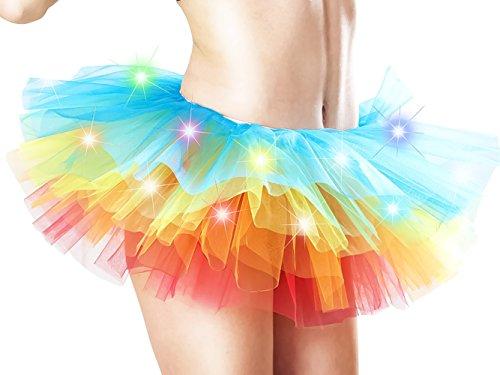 HENCY Karneval Fasching Kostüm Kurz Retro Petticoat Rock Ballett Mini Tutu Unterrock Mit LED Licht (Clown Kostüm Zombie Frauen)