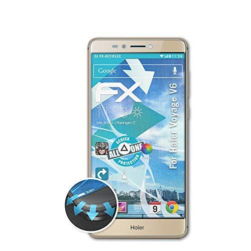 atFolix Schutzfolie passend für Haier Voyage V6 Folie, ultraklare & Flexible FX Bildschirmschutzfolie (3X)