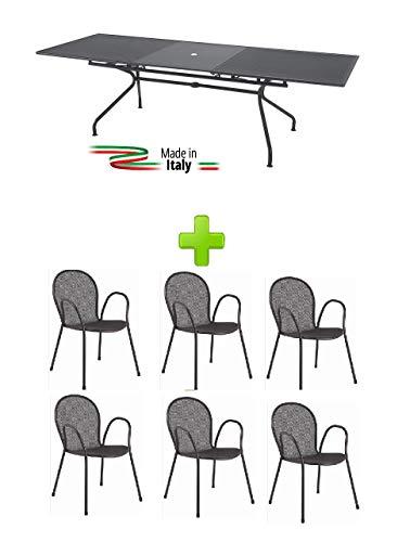 Emu Table Extensible pour extérieur modèle Athena marquage Mesure 160 + 50 x 90H cm - Couleur Fer Ancien + 6 fauteuils Ronda avec accoudoir - Fabriqué en Italie