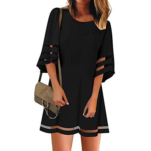 Riou Strandkleid Damen Sommer Große Größen Kurz Bat Low Cut Boho Sommerkleid Elegant Günstig für Mode Frauen Lässige Lose Print Beach Strand Mini Kleid (M, Schwarz) -
