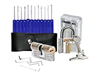 Cleak 17-Piece Lock Pick Set / Lock Picking Kit With 2 Training Locks, Lockpicking Key Extractor Tool + Transparent Exercise Padlocks+Brass Double Cylinder Lock for Locksmith and an eBook How-To Guide