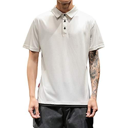 Sommer Revers Taste T-Shirt Beiläufig Einfach Kurze Ärmel Top(Large,Weiß) ()