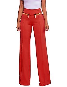 Guiran Mujer Elasticidad Cremallera Cintura Alta Ancho Fiesta Acampanados Pantalones Pantalon Palazzo Rojo M
