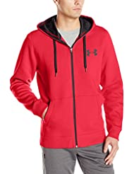 Under Armour Rival Fitted Full Zip Parte Superior del Calentamiento, Hombre, Rojo, M