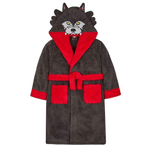 80605a213 Style It Up - Vestaglia - Ragazzo Charcoal Novelty Wolf Robe - Hooded 11-12  Anni
