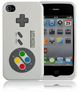 SNES Controller Style Flexible Silicone Case For iPhone 4 4S / White
