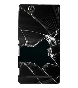 PrintVisa Broken Glass Design 3D Hard Polycarbonate Designer Back Case Cover for Sony Xperia T2 Ultra