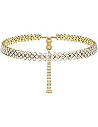 ICE (6195-2) Diamante Necklace Choker Proms Gold 4o7NBZ