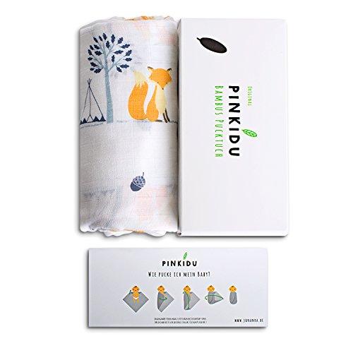Pinkidu® Bambus Pucktuch, 120x120 cm, seidenweiche Baby Puckdecke aus 100% Bambusviskose, inkl. E-Book zum Thema Pucken & Bindung, Fuchs, sinnvolles Geschenk zur Geburt