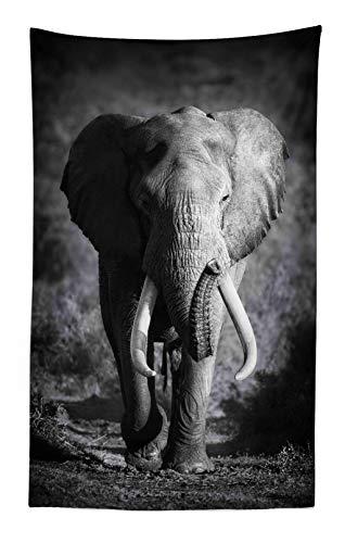 ABAKUHAUS Elefante Tapiz de Pared y Cubrecama Suave, Elefante Majestuoso Acercándose Foto Hábitat Exótico Salvaje Mamífero Estampa Safari, Material Resistente, 140 x 230 cm, Gris