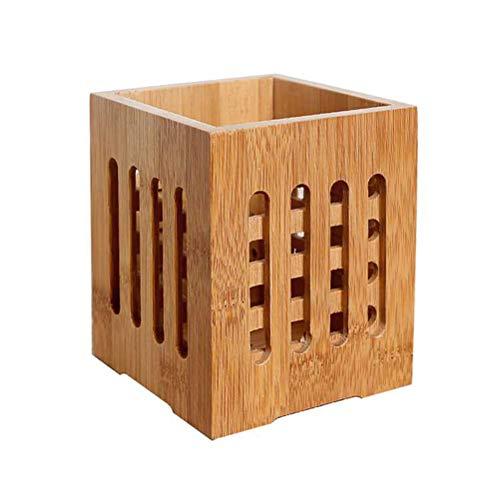 BESTONZON Porta palillos bambú Holey Cubiertos Organizador