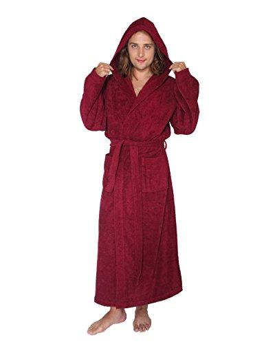 Bademantel für Damen und Herren mit Kapuze, extra lang, 100% Baumwolle-Frottee,