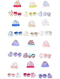BAYBEE Baby Mittens Booties Cap Set (Multicolour) - Pack of 12