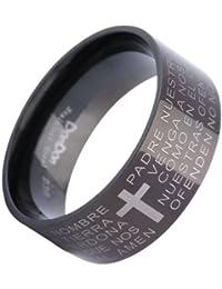 Dondon acero inoxidable de colour negro anillo de los hombres con la cruz y español Padre