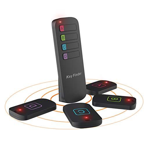 Wireless Key Finder Schlüsselfinder Haustier Tracker Mini Tracker Telefonfinder mit LED-Lampe, 4 Empfänger und 1 Sender, AAA Batterie inbegriffen Nicht im Paket