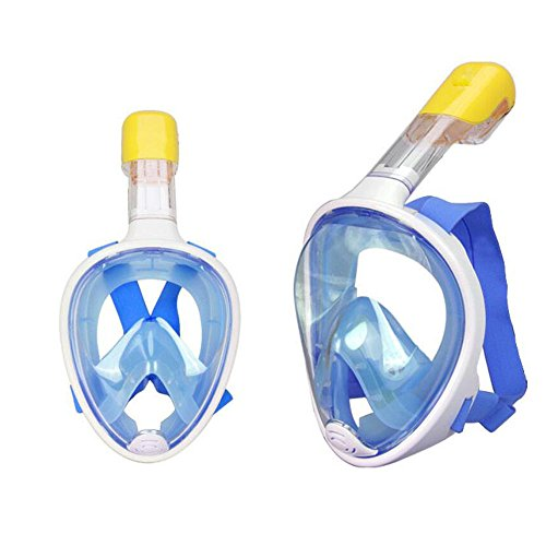 Schnorchelmaske Vollgesicht 180° Sicht mit Technologie zur freien Atmung, Design für unkomplizierte Atmung, perfekt für Erwachsene, innovatives und komfortables Design verhindert Verschlucken(blau ,S/M)