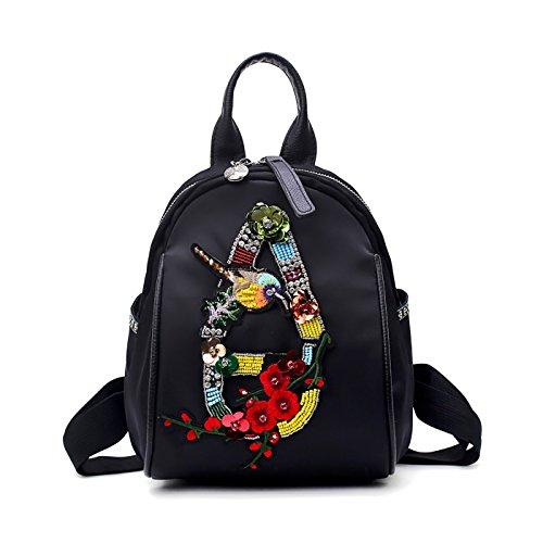 Coolives Damen Mode Stickerei mini Rucksack klein Nylon handtasche Umhängetasche designer rucksäcke frauen teenager Mädchen schwarz (Kleid Kleine Nylon Schwarze)