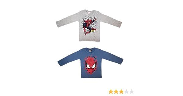 2 Maglie Manica Lunga Bimbo Cotone Spiderman Marvel Art 10 Anni 121859 Grigio Avion