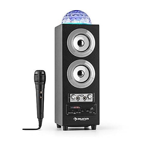 auna • DiscoStar Silver • 2.1 Bluetooth-Lautsprecher • LED-Lichteffekte • Radio • UKW-Radiotuner • 30 Speicherplätze • MP3 • SD • USB • Mini-USB • AUX • Mikrofon • Lautstärkeregler • Echoregler • Fernbedienung • Tragegriffe • Akku • tragbar • schwarz-silber