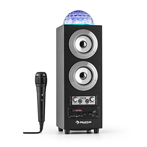 auna DiscoStar Silver - Haut-parleurs Bluetooth 2.1, Effets Lumineux LED, Radio, Tuner Radio FM, 30 Stations programmables, MP3, SD, USB, Mini USB, AUX, Micro, Contrôle Volume, Argent