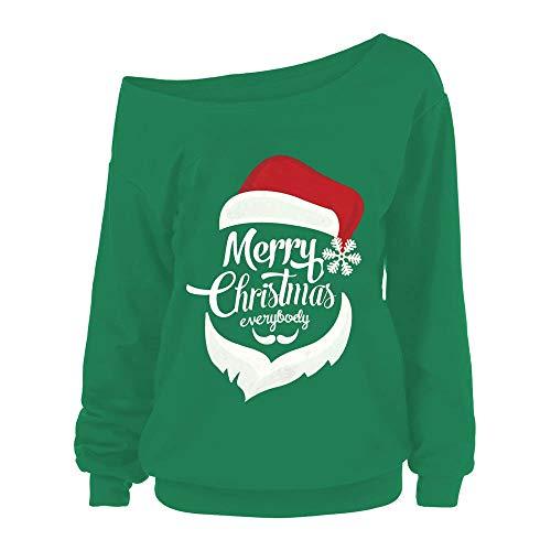 Geili Damen Weihnachten Langarmshirt Frauen Weihnachtsmann Drucken Schulterfrei Pullover Tops Sweatshirt Frauen Tägliche Festlich Karneval Party Active Bluse T-Shirt Oberteile (Billige Karneval Kleider)