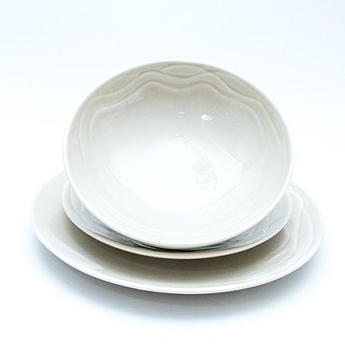 Guzzini Aqua Collection 3 teiliges Geschirr Set / Teller Set / Teller aus Porzellan Farbe Creme