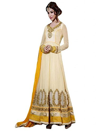 Inddus Women Georgette Embroidered Embellished Yellow Anarkali Salwar Kameez