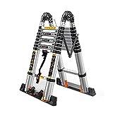 Scale telescopiche- Alluminio Telescopico di Estensione Ladder - Multi-Purpose Pieghevoli Ingegneria Scale con Barra di Supporto e Supporti, 330lb capacità di Carico (Size : 4.2m/13.8ft(2.1m+2.1m))