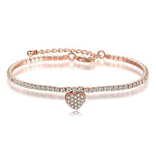 AiShe Frauen Voller Diamant Zirkon Armband Licht Luxus Einfache Kristall Herz Armband