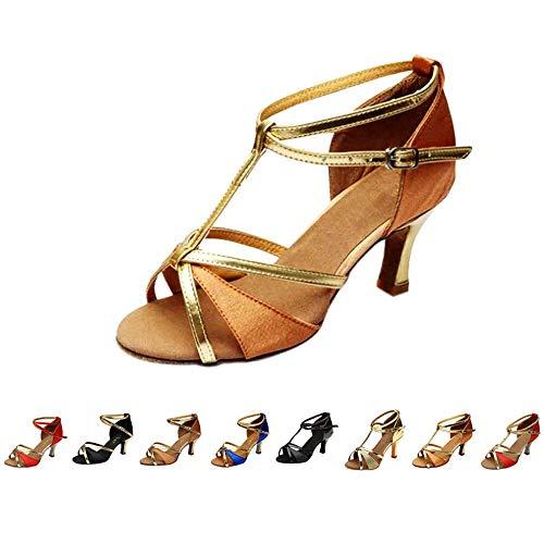 DAY.LIN Escarpins Femmes Ballerines Moderne Talons Bas Rumba Waltz Prom Ballroom Fête Latin Tango Danse du Salsa Talons Mi-Hauts Sandales Chaussures de Danse 35-41 (38, Marron)