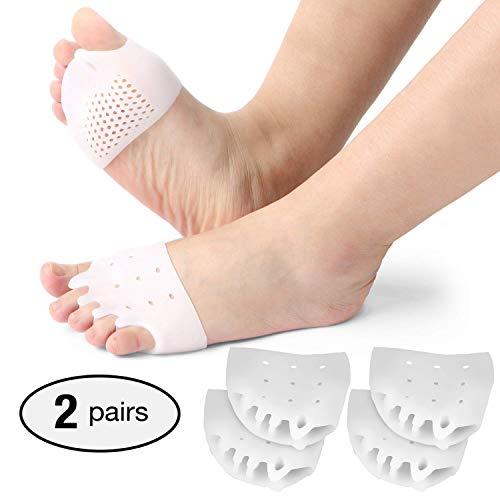 2 paia di separatori in gel per dita dei piedi, raddrizzatore in gel per dita sovrapposte, correttore per alluce valgo, sollievo dal dolore all'avampiede.