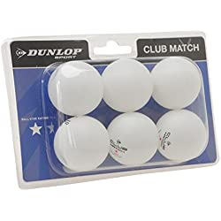 Dunlop Club - Lote de pelotas de ping-pong (6 unidades) blanco blanco Talla:-