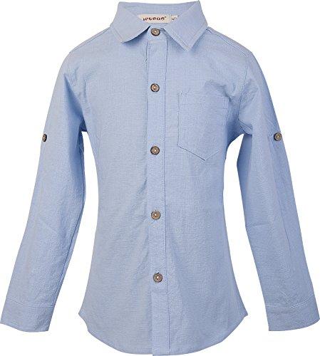Ipuang ragazzi lino manica lunga Button-giù la camicia
