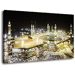 Fajerminart LED Lumière Tableaux Toile, Musulman islam Cadre Toile de la Mecque Décoration du Hajj, Peinture Sur Toile Convient pour, Salon, Bureau, Taille:30x40cm(Cadre en Bois)(Barre De Lumière LED)