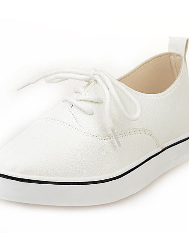 ZQ hug Scarpe Donna - Stringate - Casual - A punta - Piatto - Finta pelle - Nero / Bianco , white-us8 / eu39 / uk6 / cn39 , white-us8 / eu39 / uk6 / cn39 white-us6.5-7 / eu37 / uk4.5-5 / cn37