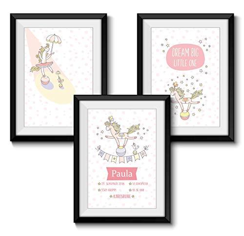 Babyandenken zur Geburt Personalisiert 3er SET GEBURTSBILD PONY ZIRKUS ohne Rahmen DIN A4 Format Geschenk Mädchen Baby Kind