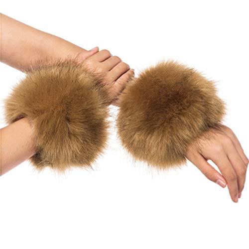 Lucky Leaf Damen Gemütliche warme Faux-Pelz-Handgelenk-Schutz-Band-Ring-Stulpen für Winter (C-Kamel)