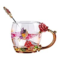 Lawei Clear Glass Tea Cup Coffee Mug Cups with Spoon Handmade Butterfly Rose,11oz