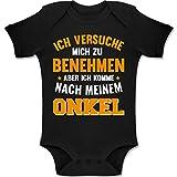 Shirtracer Sprüche Baby - Ich versuche Mich zu benehmen Aber ich komme nach Meinem Onkel orange - 3-6 Monate - Schwarz - BZ10 - Baby Body Kurzarm Jungen Mädchen