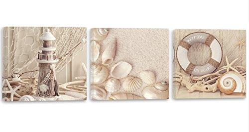 Feeby Frames, Leinwandbild, Bilder, Wand Bild - 3 Teile - Panoramabild, Wandbilder, Kunstdruck 90x30 cm, Strand, Sand, Muscheln, Leuchtturm, BRAUN (Muschel Bilder)