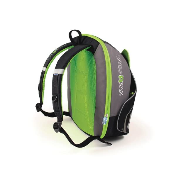 Trunki BoostApak - Travel Backpack & Child Car Booster Seat for Group 2-3 (Green)  QUICKLY TRANSFORMS – Kid's bag to portable booster cushion in seconds (featuring internal hard shell and fold out seatbelt guides) AVOID HIRE CHARGES - On fly drive holidays! Can also be used as dining, cinema or stadium booster to see the action HAND LUGGAGE - 8-litre capacity for packing toys/games/stationary keeping children entertained on the go 14
