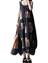 Laixing Buena Calidad Women's Oversized Roomy Sleeveless Cotton&Linen Mid-Long Shift Dress #302H9078