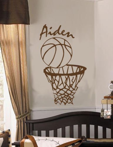 erte Personalisierte Basketball NBA Sport Thema Vinyl Wandaufkleber Jungen Kinderzimmer Kunst Dekor 63 * 38 cm ()