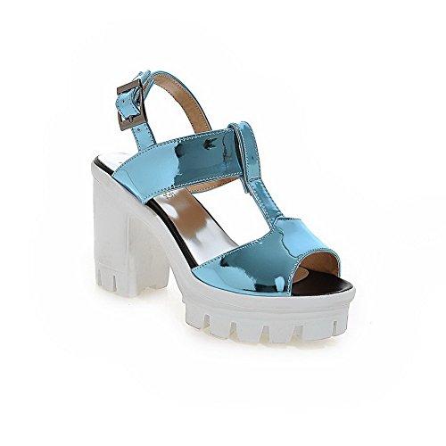 VogueZone009 Donna Tacco Alto Puro Punta Aperta Pelle Di Maiale Fibbia Heeled-Sandals Azzurro