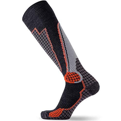 High Performance Wolle Ski Socken-Outdoor Wolle Ski Socken, Snowboard Socken (schwarz/grau/orange, groß) -