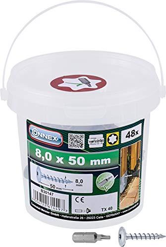 Connex Pfostenschrauben 8,0 x 50 mm - 48 Stück - TX Torx-Antrieb - Vollgewinde - Zur Befestigung von Beschlägen & Verbindern - Inkl. Bit / Pfostenverbinder-Schraube / Schrauben-Eimer / B30147