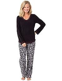 PajamaGram Pijama largo para mujer - Forro polar