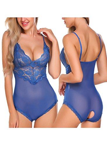 Avidlove Damen Sexy Body Dessous Rückenfrei Spitze Bodysuit Negligee Reizwäsche Unterwäsche Babydoll Lingerie Erotic Nachtwäsche Mit Slip Blau XL (Rock Set Flirt)